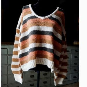 Madewell Striped Balloon Sleeved Sweater